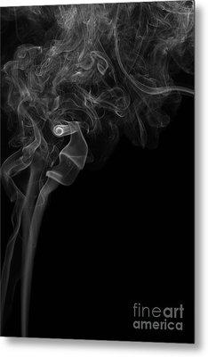 Abstract Vertical Monochrome White Mood Colored Smoke Wall Art 05 Metal Print by Alexandra K