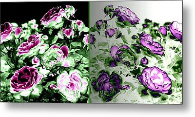 Abstract Vintage Roses Metal Print