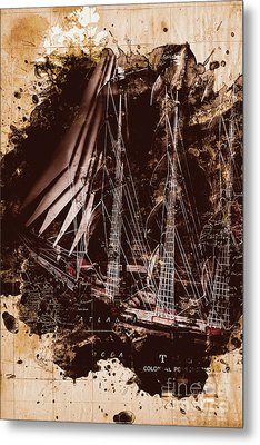 Abstract Vintage Ship And Old World Paper Map Metal Print by Jorgo Photography - Wall Art Gallery