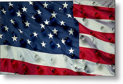 Metal Print featuring the painting Abstract Water Drops On Usa Flag by Georgeta Blanaru