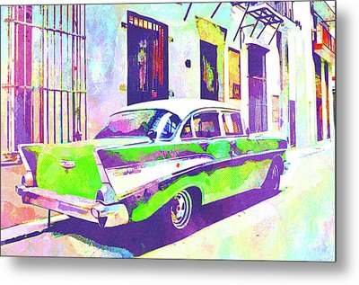 Abstract Watercolor - Havana Cuba Classic Cadillac II Metal Print