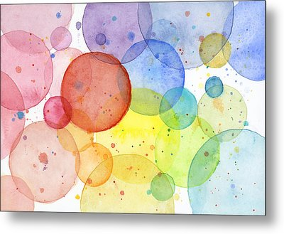 Abstract Watercolor Rainbow Circles Metal Print by Olga Shvartsur