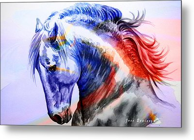 Metal Print featuring the painting Abstract White Horse 44 by J- J- Espinoza