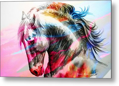 Metal Print featuring the painting Abstract White Horse 45 by J- J- Espinoza