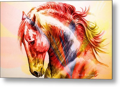 Metal Print featuring the painting Abstract White Horse 46 by J- J- Espinoza