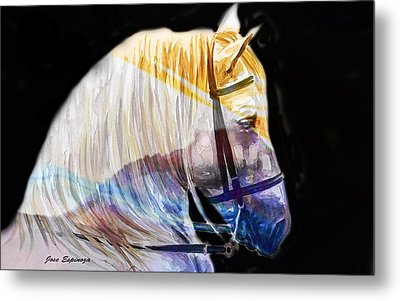 Metal Print featuring the painting Abstract White Horse 50 by J- J- Espinoza