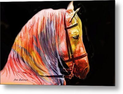Metal Print featuring the painting Abstract White Horse 52 by J- J- Espinoza