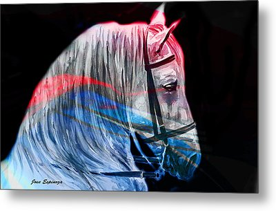Metal Print featuring the painting Abstract White Horse 53 by J- J- Espinoza