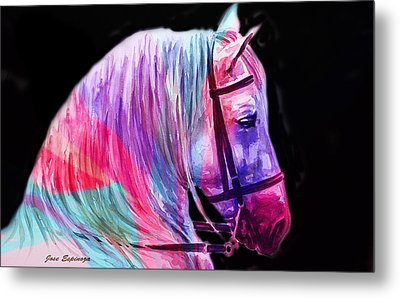 Metal Print featuring the painting Abstract White Horse 55 by J- J- Espinoza
