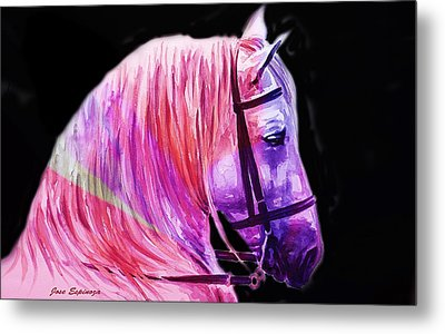 Metal Print featuring the painting Abstract White Horse 56 by J- J- Espinoza