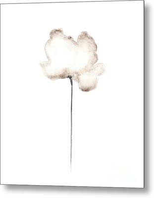 Abstract White Poppy Watercolor Art Print Painting Metal Print