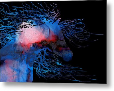 Abstract Wild Horse Red White And Blue Metal Print