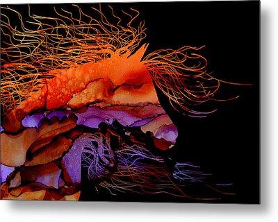 Abstract Wild Horse - Vibrant Purple And Orange Metal Print