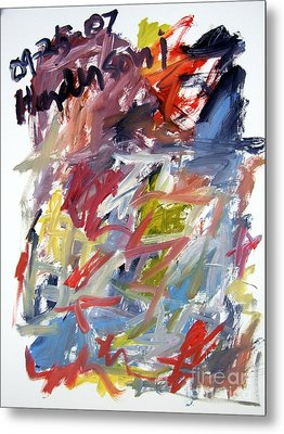 Abstract With Black Date Metal Print by Michael Henderson