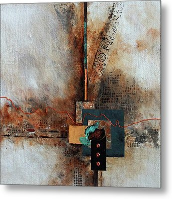 Metal Print featuring the painting Abstract With Stud Edge by Joanne Smoley
