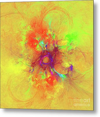Metal Print featuring the digital art Abstract With Yellow by Deborah Benoit