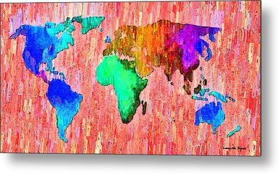Abstract World Map 11 - Pa Metal Print