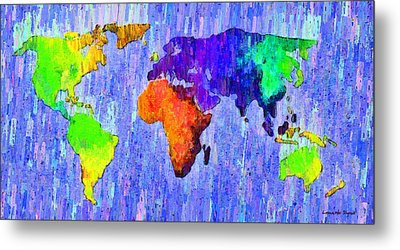 Abstract World Map 13 - Da Metal Print
