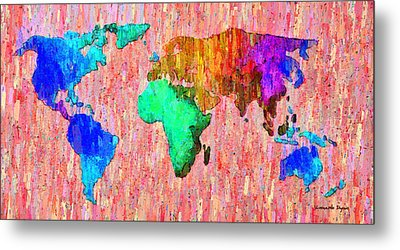 Abstract World Map Colorful 51 - Pa Metal Print