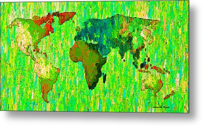 Abstract World Map Colorful 58 - Da Metal Print