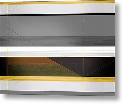 Abstract Yellow And Grey  Metal Print by Naxart Studio