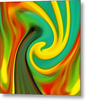 Abstract Yellow Flower Blooming Metal Print by Amy Vangsgard
