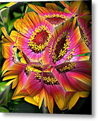 Abstract Yellow Flame Zinnia Metal Print by Kathy Kelly