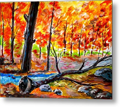 Fire In The Forest Metal Print