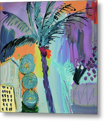 Abtract, Landscape With Palm Tree In California Metal Print