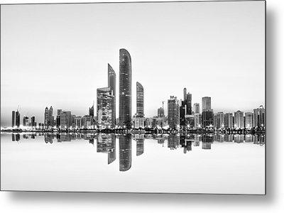 Abu Dhabi Urban Reflection Metal Print by Akhter Hasan