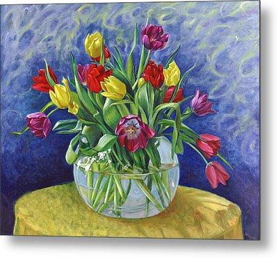 Abundant Tulips Metal Print by Nancy Tilles