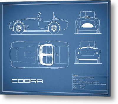 Ac Cobra Blueprint Metal Print by Mark Rogan