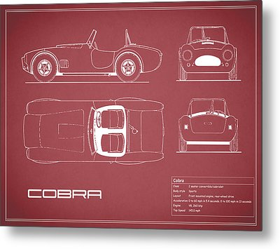 Ac Cobra Blueprint - Red Metal Print by Mark Rogan