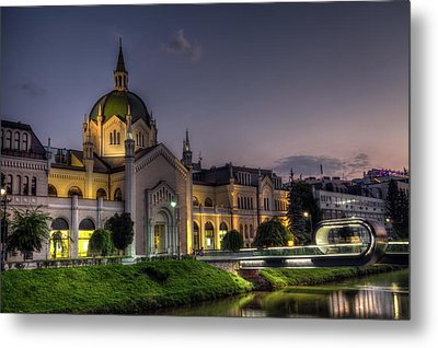 Academy Of Fine Arts, Sarajevo, Bosnia And Herzegovina At The Night Time Metal Print by Elenarts - Elena Duvernay photo