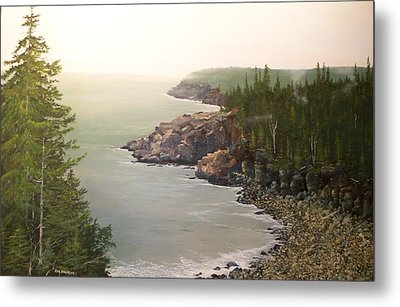 Acadia Maine Morning Mist Metal Print