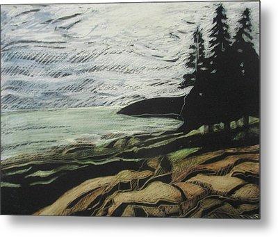Acadia - Ocean Path View Metal Print