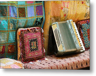 Accordion  With Colorful Pillows Metal Print