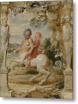 Achilles Educated By The Centaur Chiron Metal Print by Peter Paul Rubens