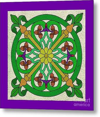 Acorn On Cream/purple Metal Print