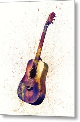 Acoustic Guitar Abstract Watercolor Metal Print