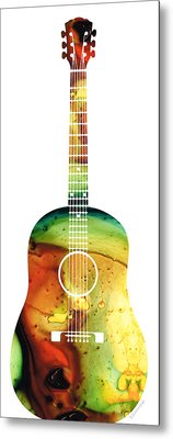 Acoustic Guitar - Colorful Abstract Musical Instrument Metal Print by Sharon Cummings