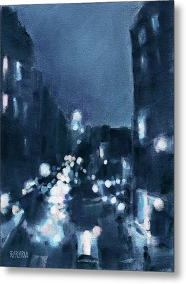Across 23rd Street Nyc High Line At Night Metal Print by Beverly Brown