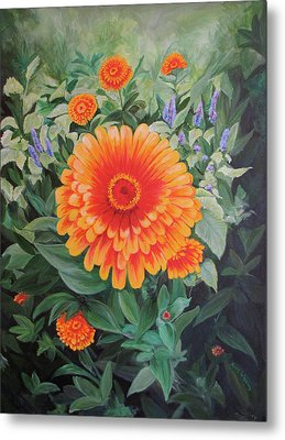 Acrylic Flower Painting - Zoozinnia Metal Print by Avril Whitney