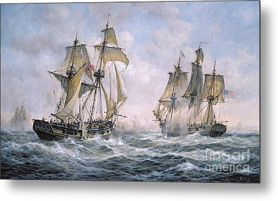 Action Between U.s. Sloop-of-war 'wasp' And H.m. Brig-of-war 'frolic' Metal Print by Richard Willis