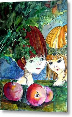 Adam And Eve Before The Fall Metal Print by Mindy Newman