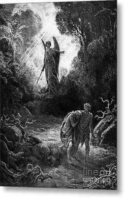 Adam And Eve Leaving Paradise Metal Print by Gustave Dore