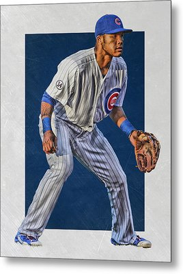 Addison Russell Chicago Cubs Art 2 Metal Print by Joe Hamilton