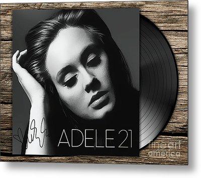 Adele 21 Art With Autograph Metal Print
