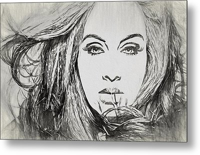 Adele Charcoal Sketch Metal Print by Dan Sproul