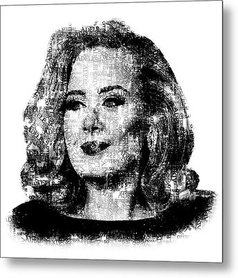 Adele Text Portrait - Typographic Face Poster With The Lyrics For The Song Hello Metal Print
